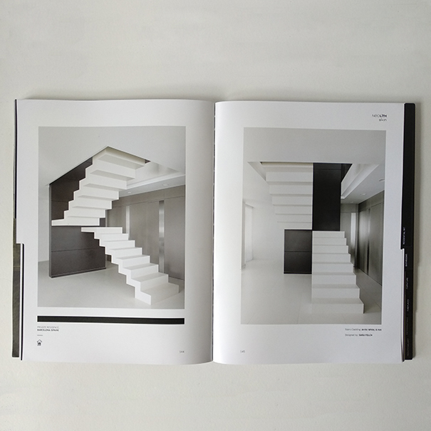 One of the Catalog of Neolith pages showing the work by Sara Folch Interior Design