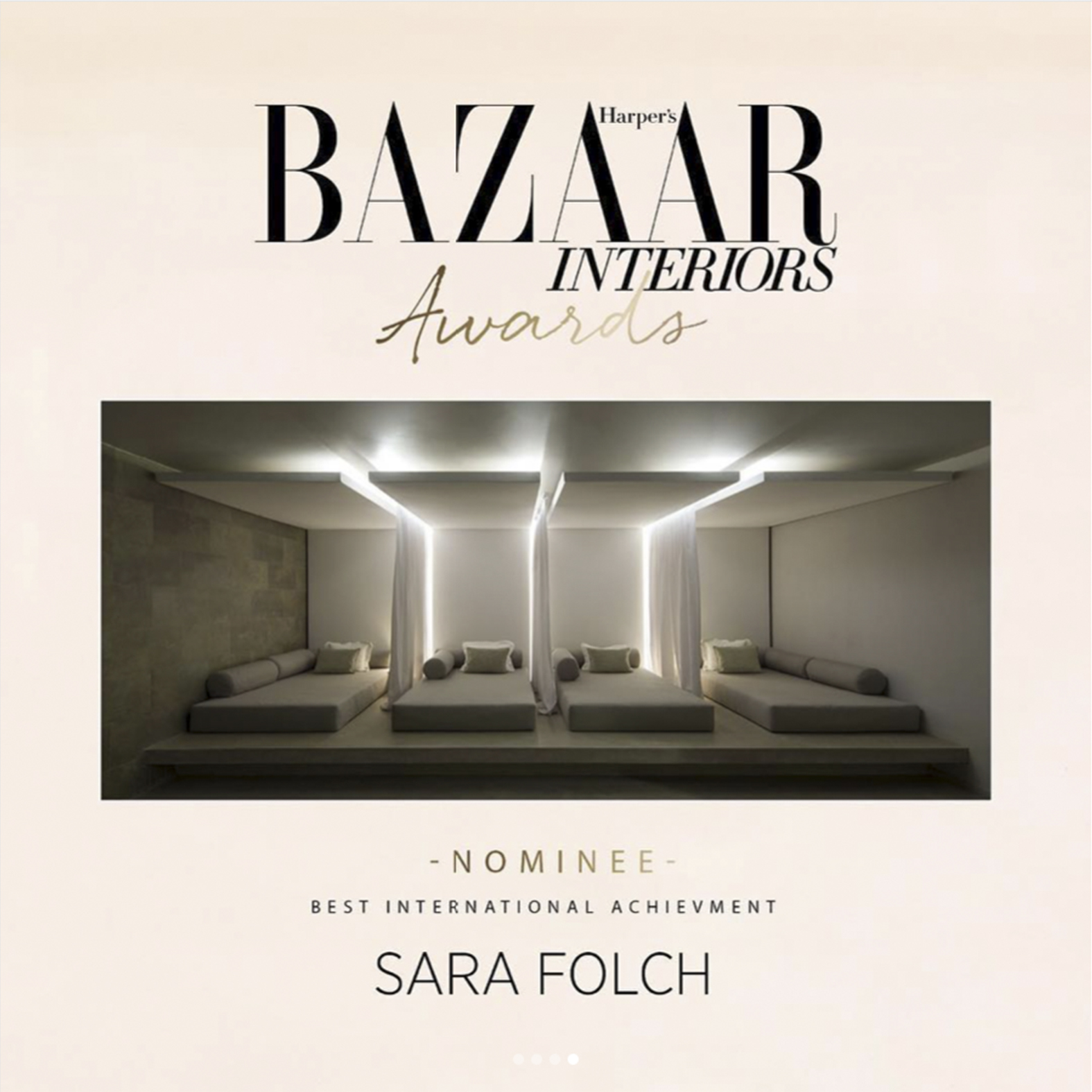 Sara Folch Interior Design shorlisted for Harpers Bazaar Interior Awards 2018